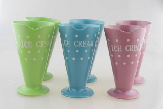 Ice Cream Cups in a choice of Colours Set of 2, Ceramic Ice Cream Sundae Dishes,